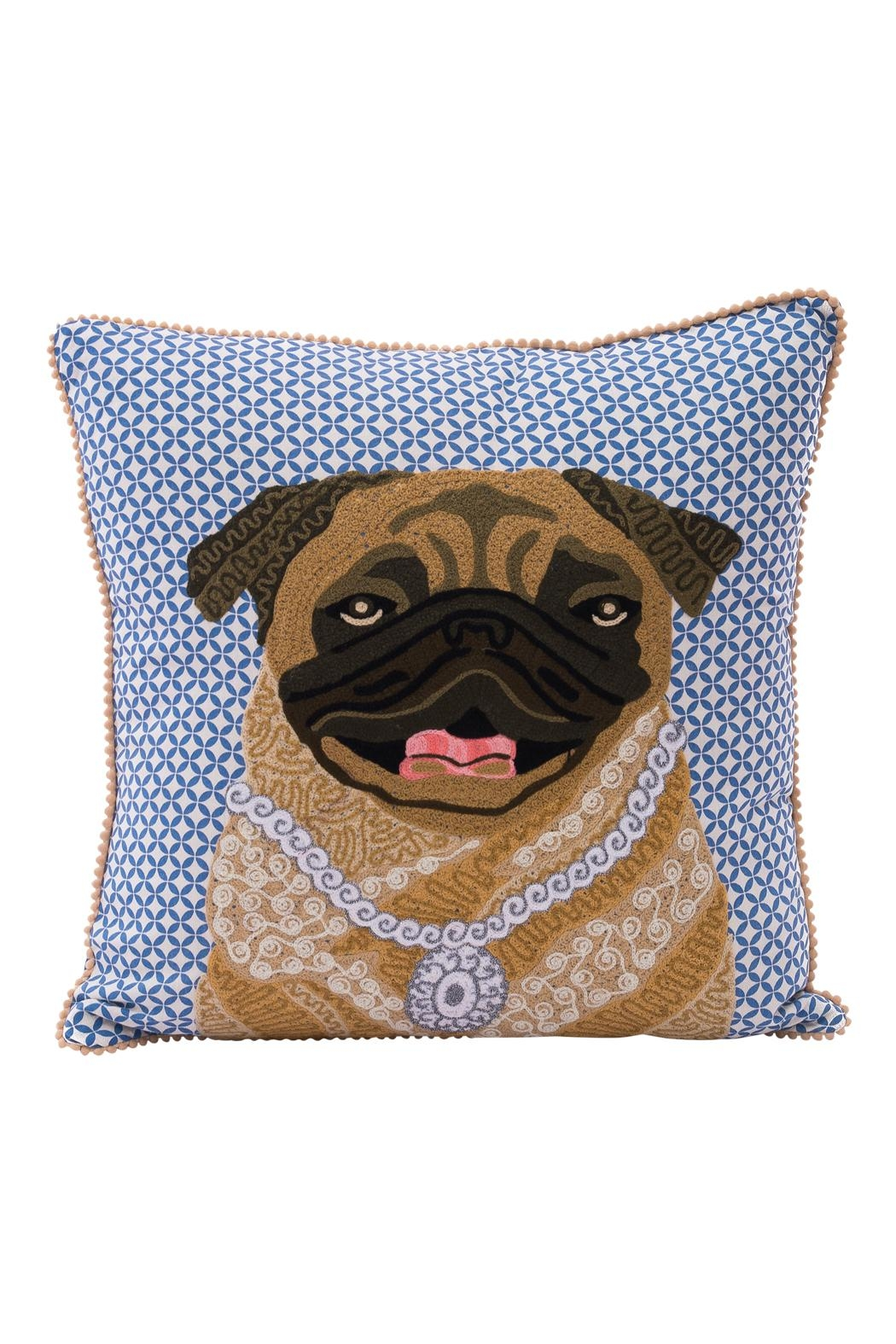 Karma Living Pug Pillow - Front Cropped Image