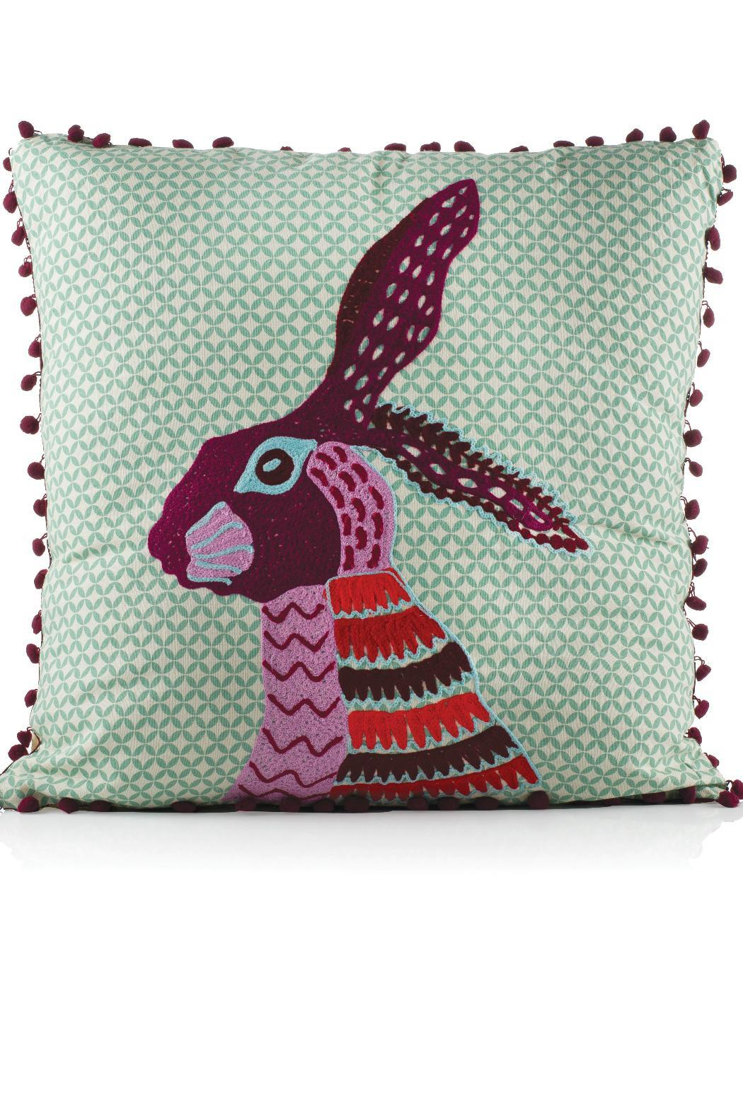 Karma Living Rabbit Pompom Pillow   Front Cropped Image