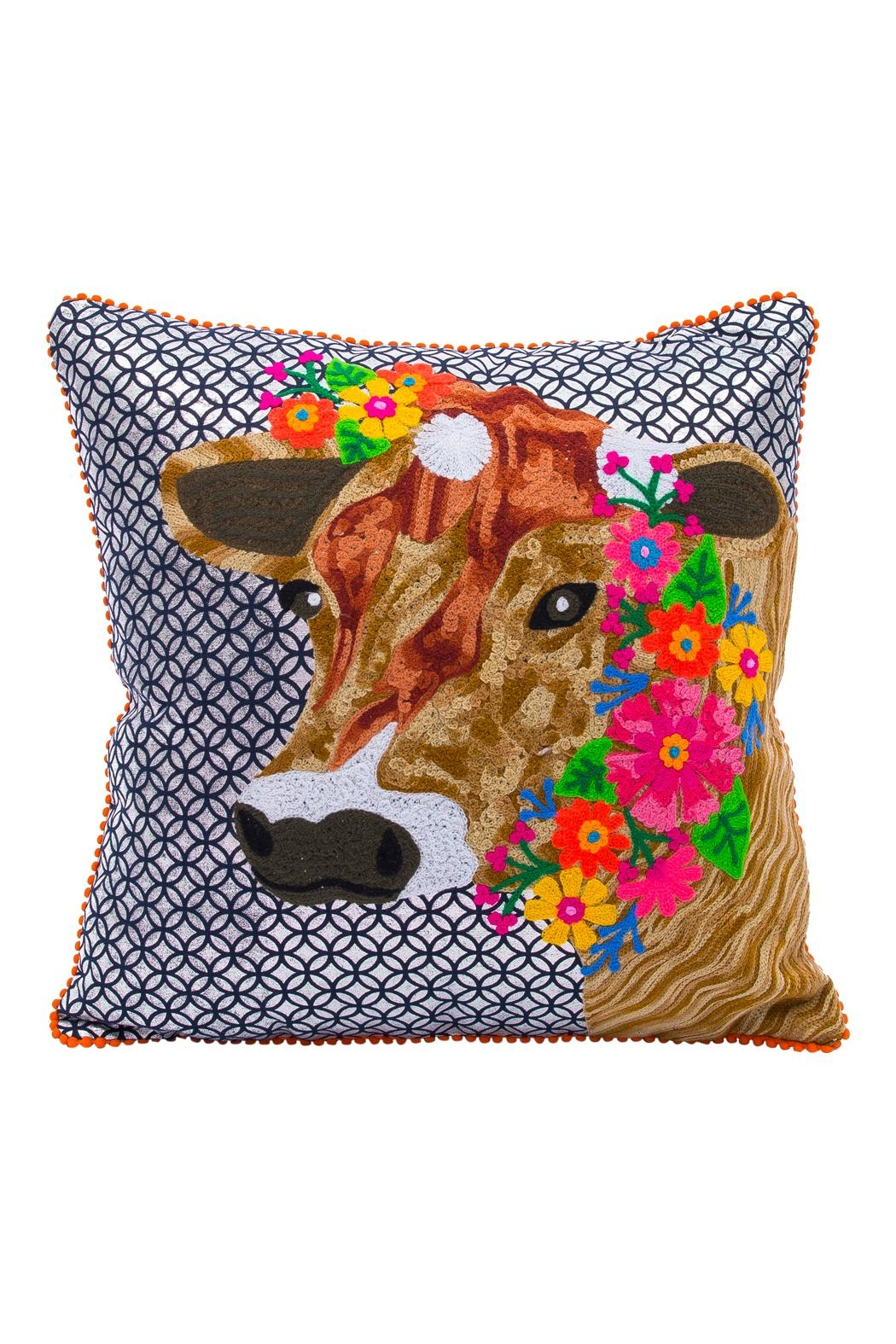 Karma Living Silver Cow Pillow   Front Cropped Image