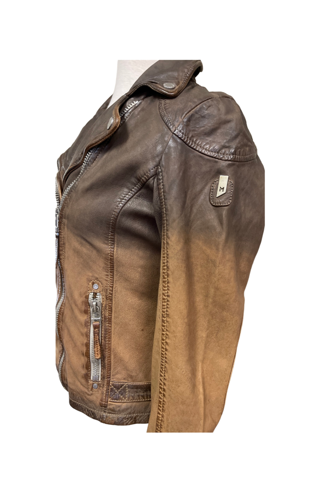 Mauritius Karyn Two Tone Distressed Leather Jacket - Front Full Image