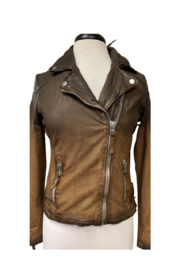 Mauritius Karyn Two Tone Distressed Leather Jacket - Front cropped