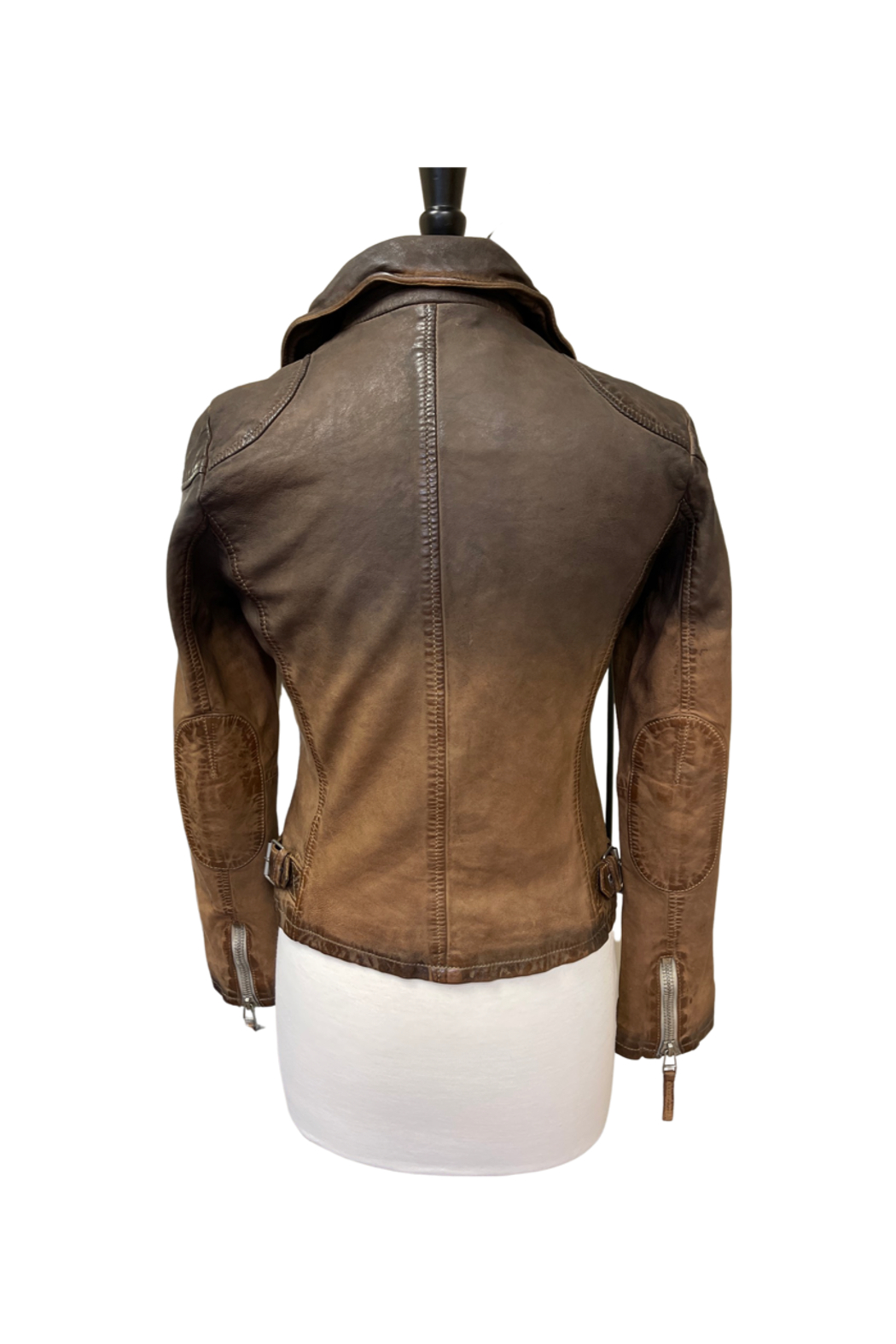 Mauritius Karyn Two Tone Distressed Leather Jacket - Side Cropped Image