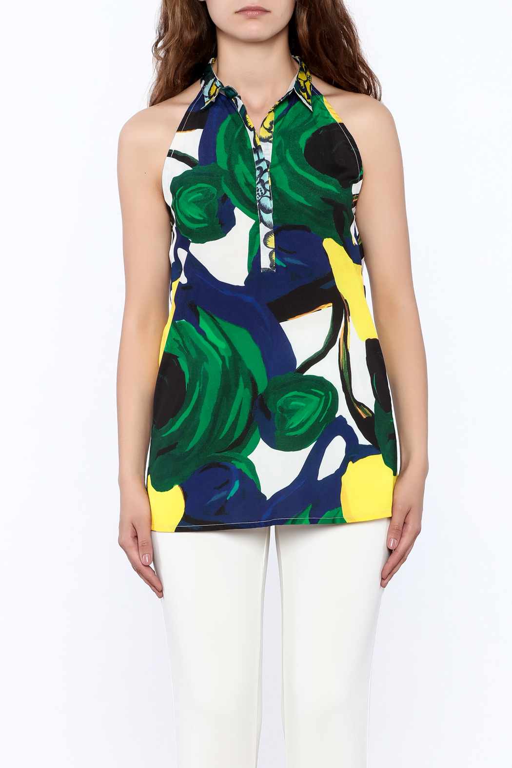 KAS New York Amelia Abstract Print Top - Side Cropped Image