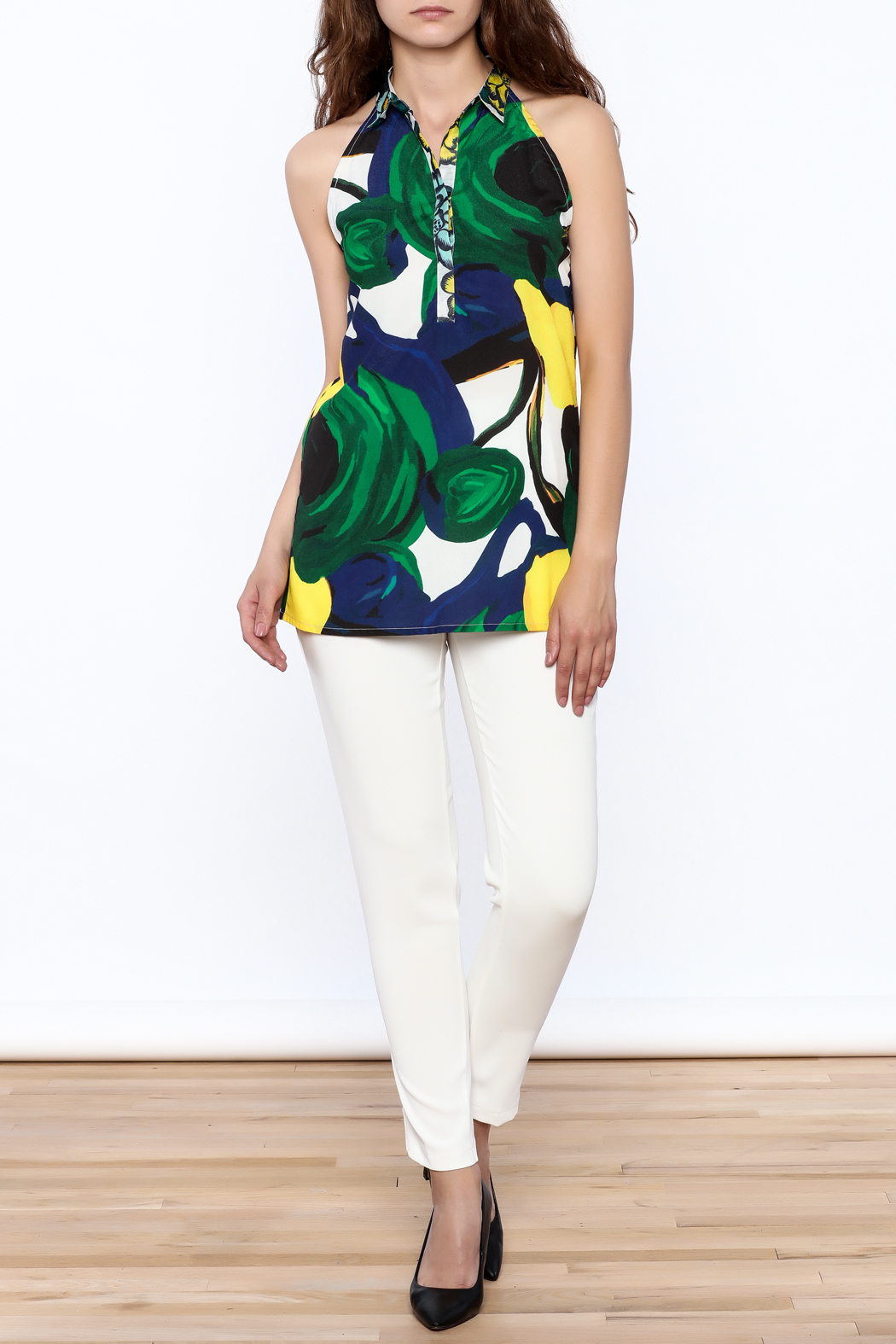 KAS New York Amelia Abstract Print Top - Front Full Image