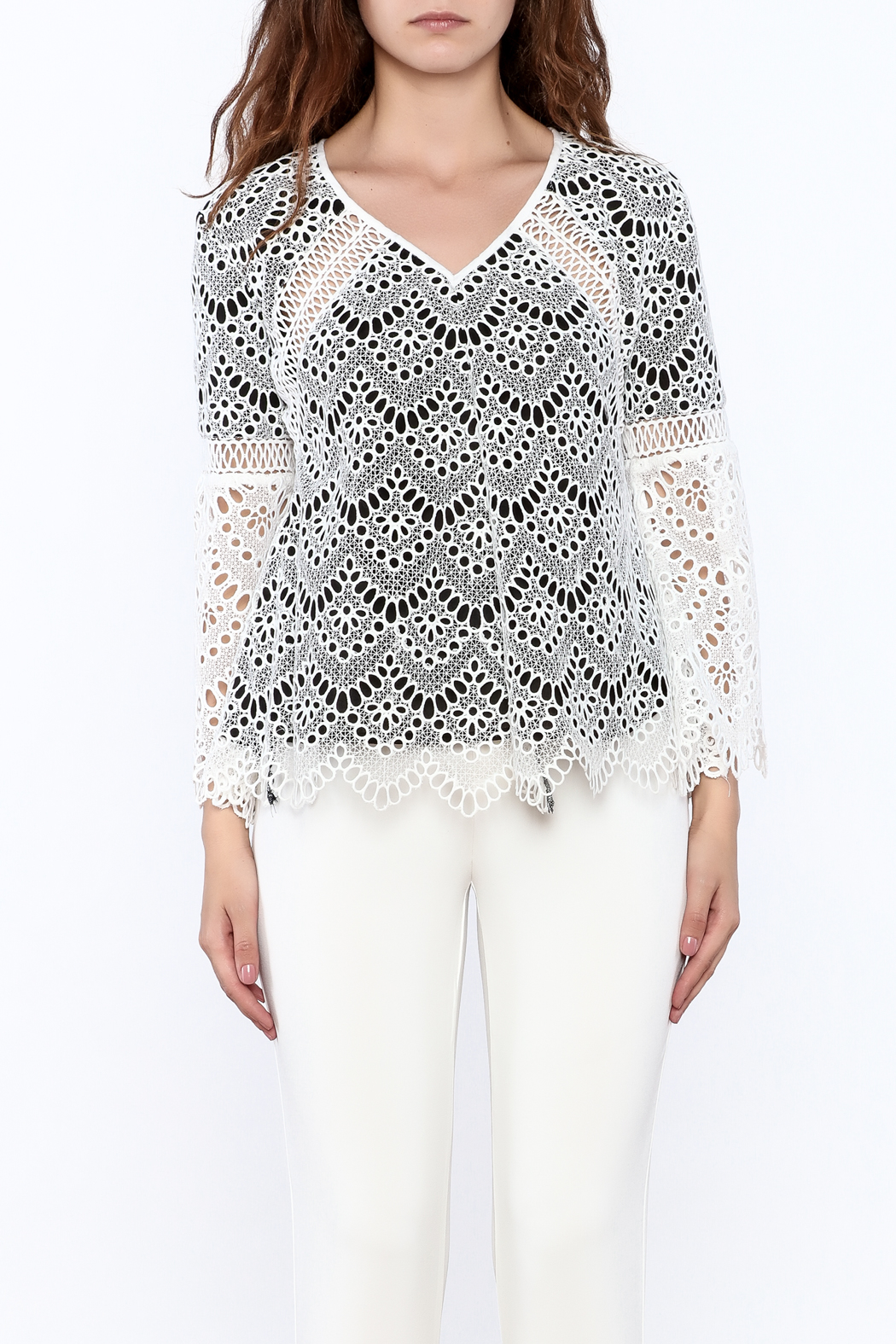 KAS New York Semi Lined Lace Top - Side Cropped Image