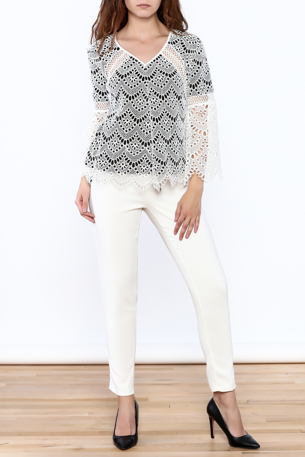 KAS New York Semi Lined Lace Top - Front Full Image