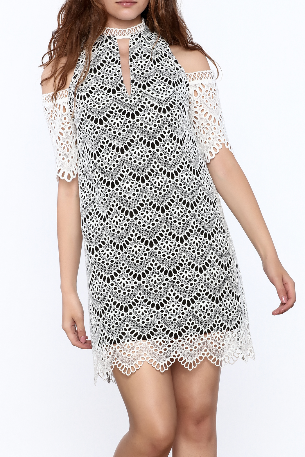 KAS New York Semi Lined Lace Dress - Main Image