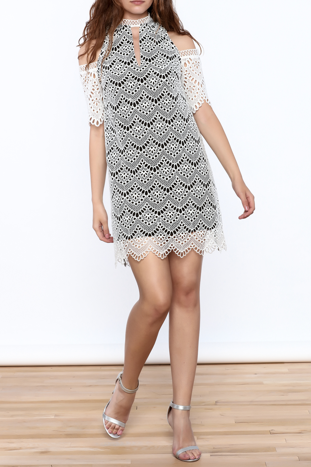 KAS New York Semi Lined Lace Dress - Front Full Image