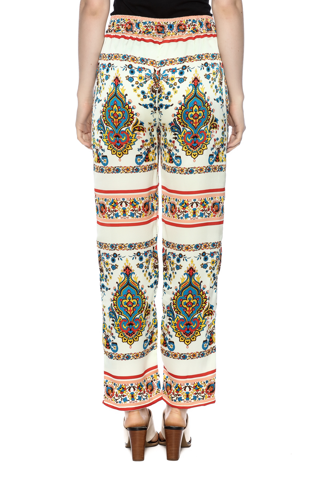 KAS New York Print Drawstring Pant - Back Cropped Image