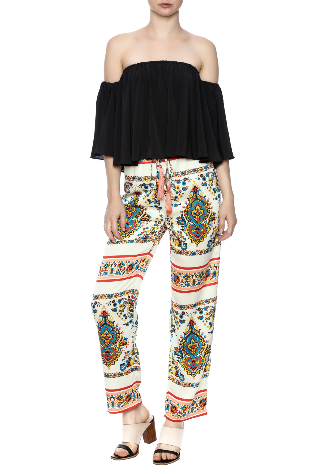 KAS New York Print Drawstring Pant - Front Full Image