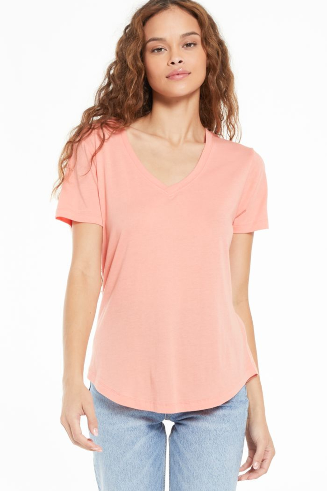 z supply Kasey Modal V-Neck Tee - Front Cropped Image