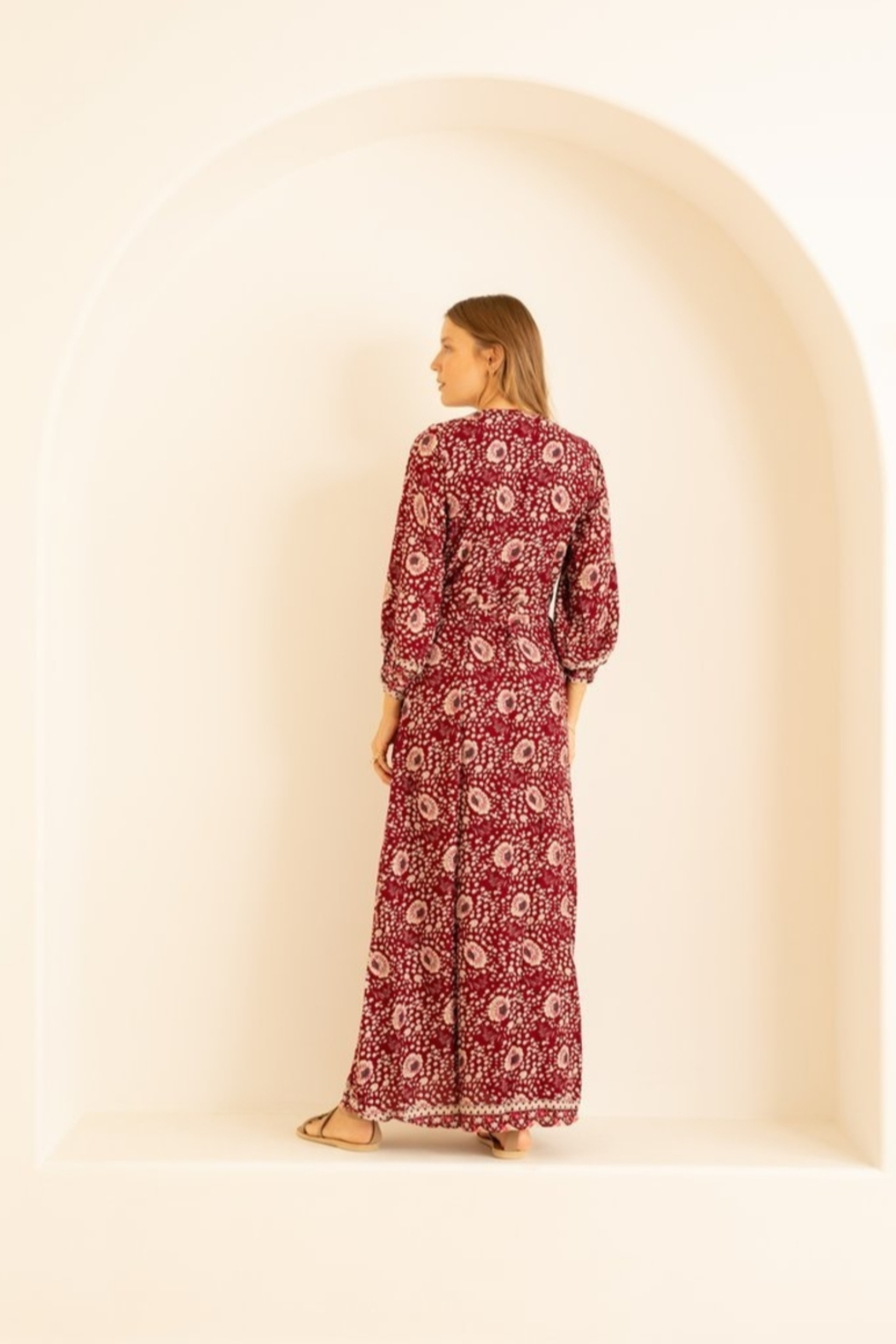 Natalie Martin Kate Long Sleeve Wrap Dress - Vintage Flowers Red - Front Full Image
