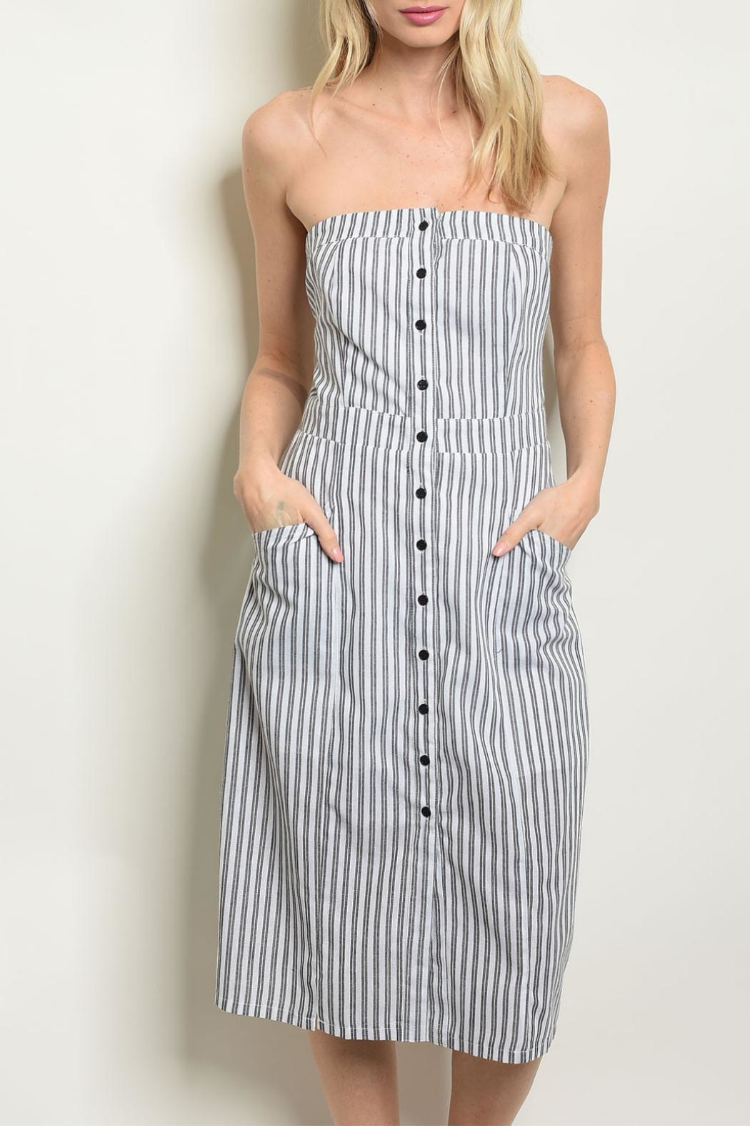Kate Collection Gray Stripe Dress - Main Image