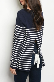 Kate Collection Open-Back Striped Sweater - Product Mini Image