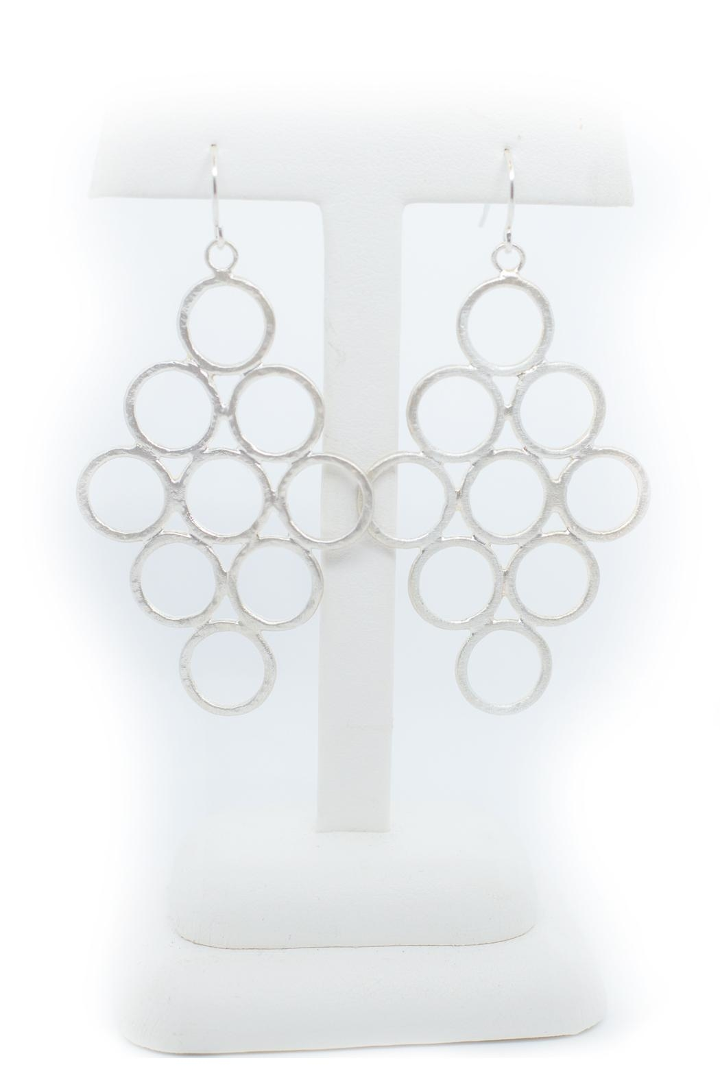Kate Sydney Jewelry Honeycomb Silver Earrings - Front Full Image