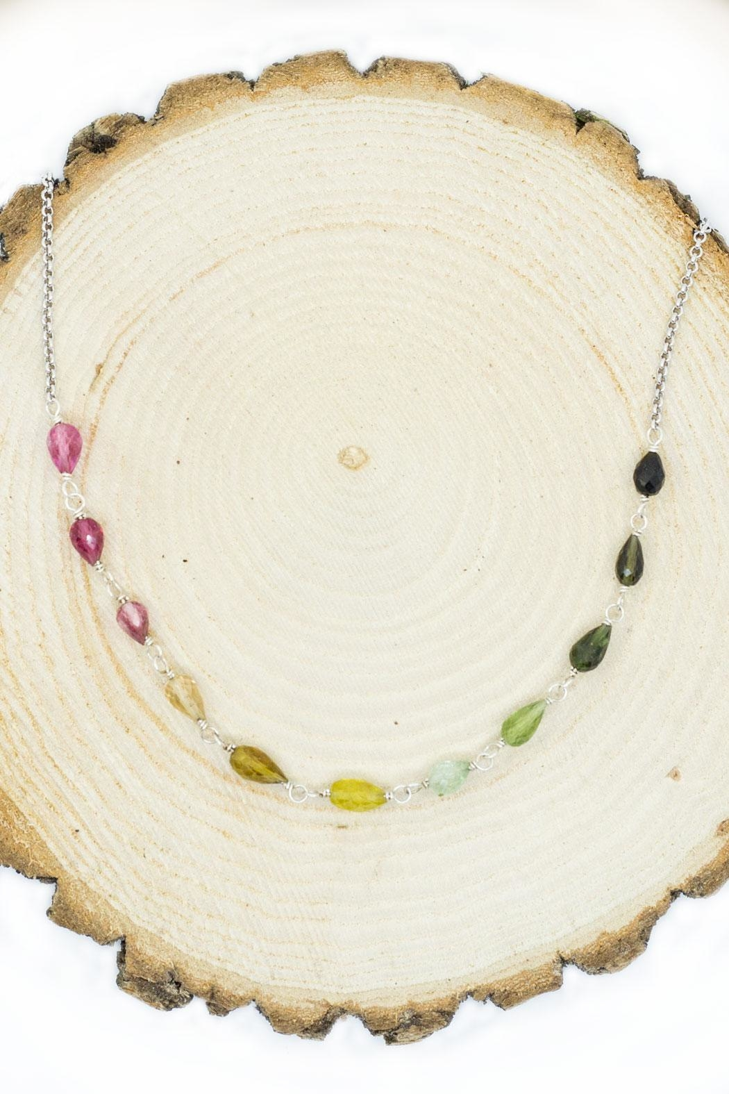 Kate Sydney Jewelry Rainbow Tourmaline Necklace - Side Cropped Image