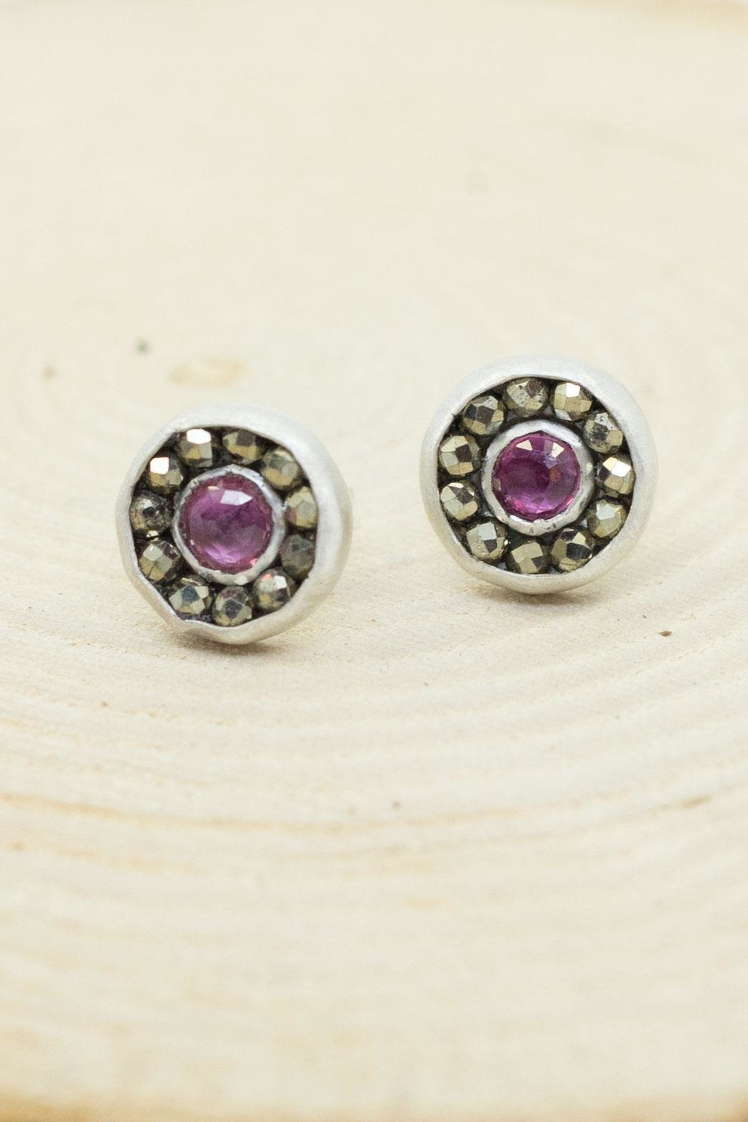 Kate Sydney Jewelry Ruby Aurora Studs - Side Cropped Image