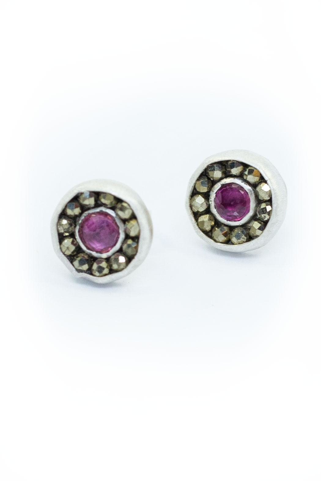 Kate Sydney Jewelry Ruby Aurora Studs - Front Cropped Image