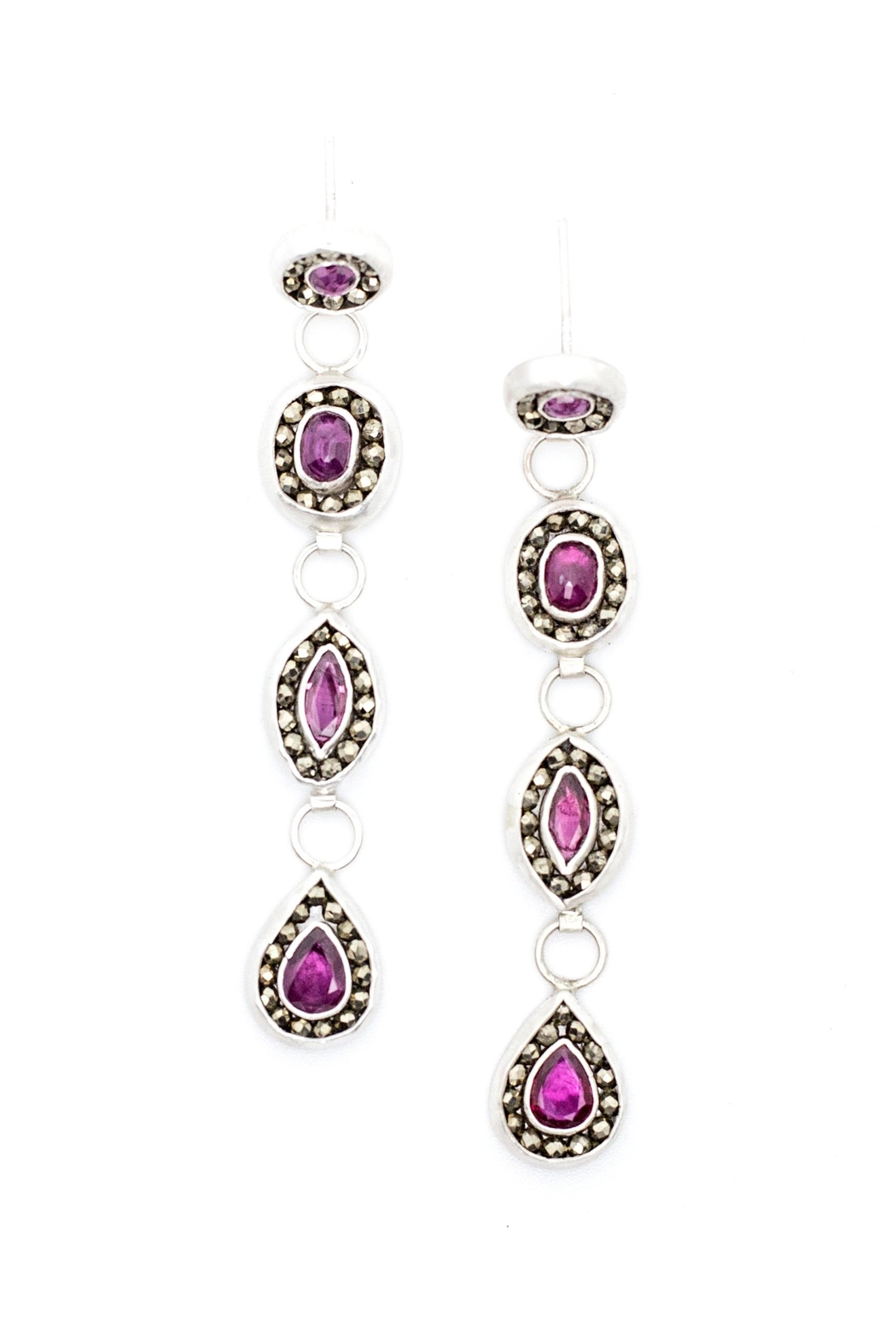 Kate Sydney Jewelry Ruby Statement Earrings - Main Image