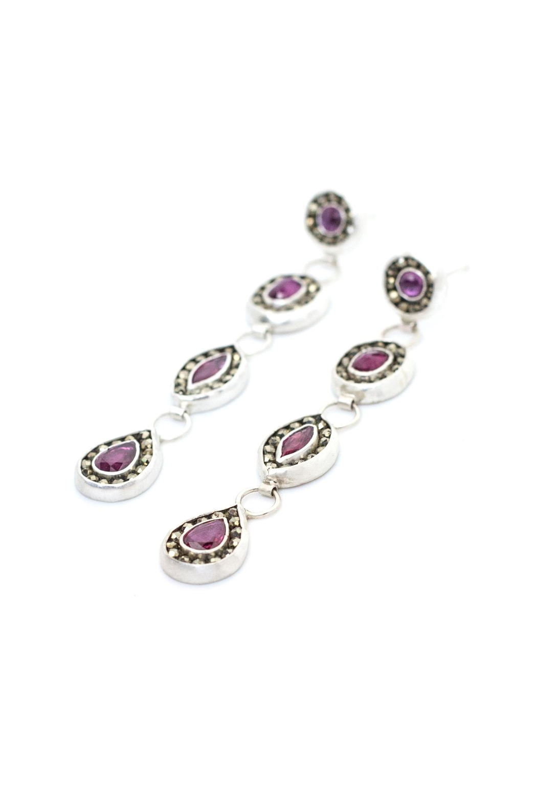 Kate Sydney Jewelry Ruby Statement Earrings - Front Full Image