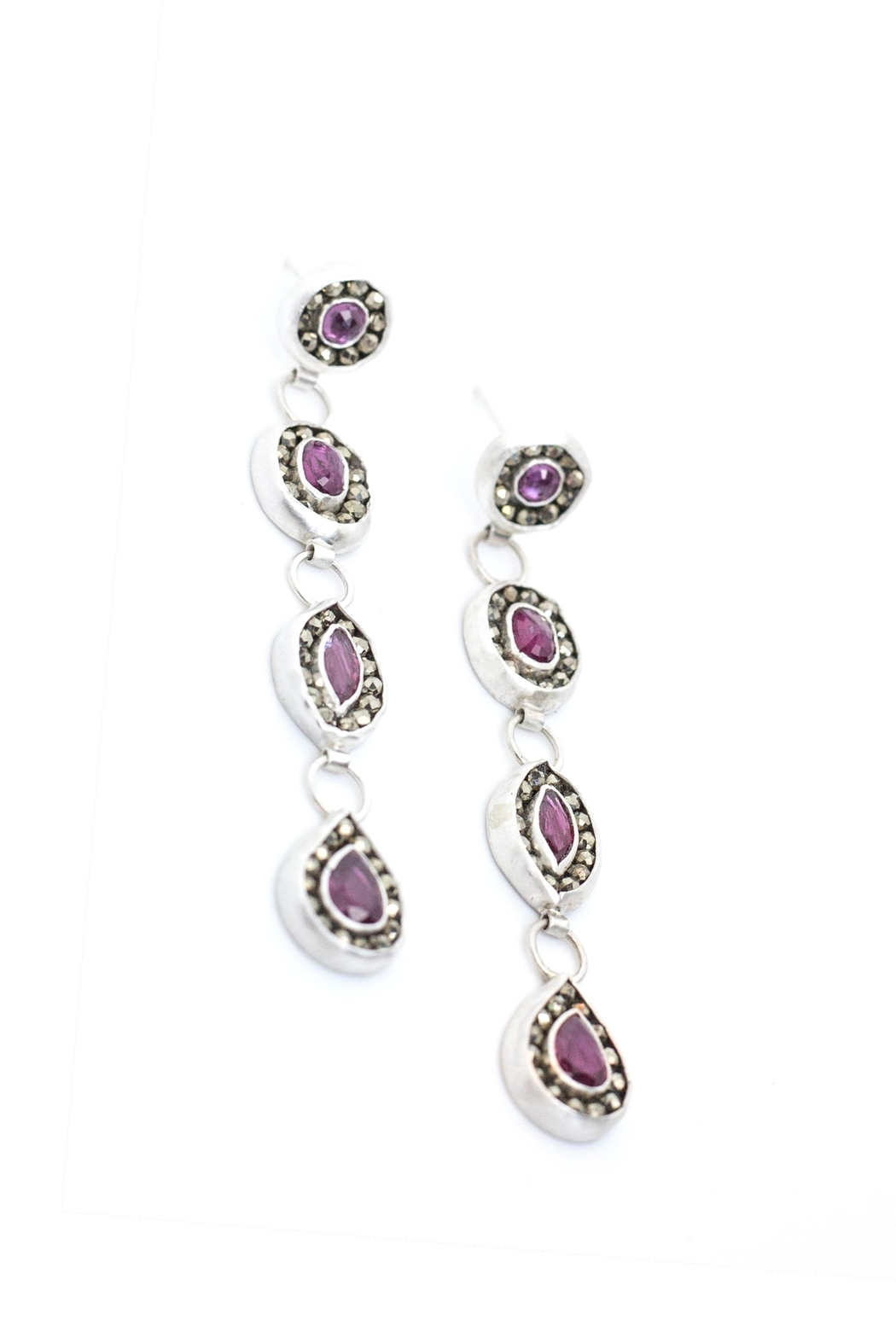 Kate Sydney Jewelry Ruby Statement Earrings - Side Cropped Image