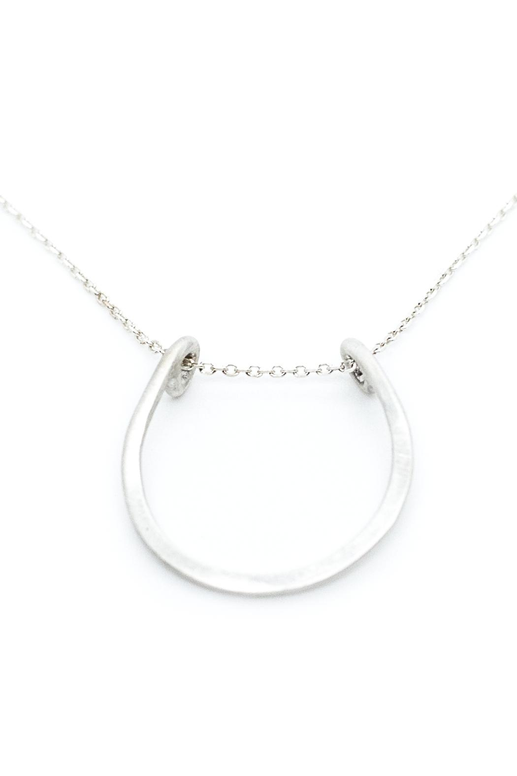 Kate Sydney Jewelry Silver Horseshoe Necklace - Back Cropped Image