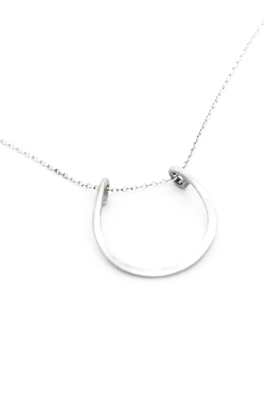 Kate Sydney Jewelry Silver Horseshoe Necklace - Front Full Image