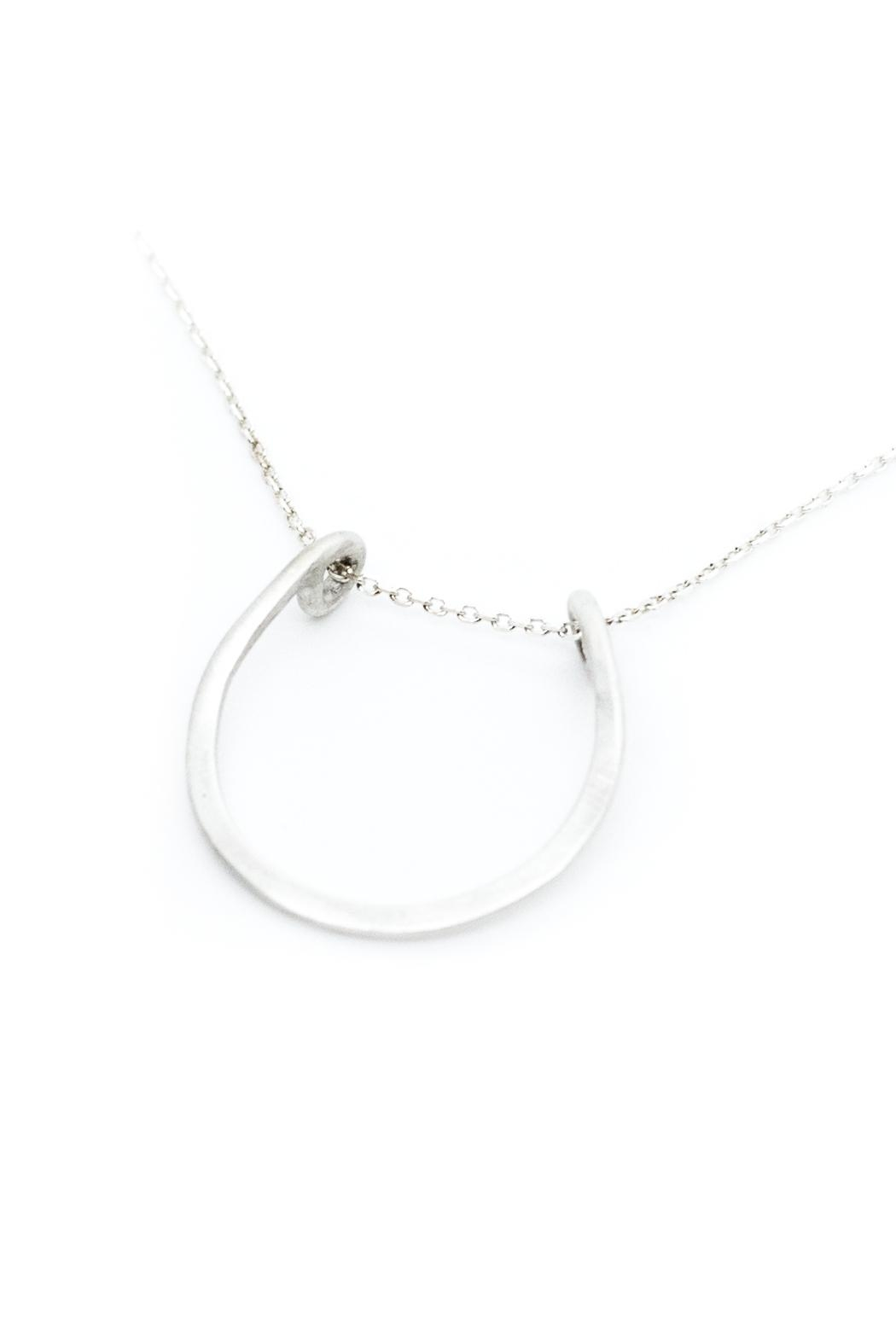 Kate Sydney Jewelry Silver Horseshoe Necklace - Side Cropped Image