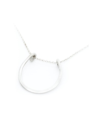 Kate Sydney Jewelry Silver Horseshoe Necklace - Side cropped
