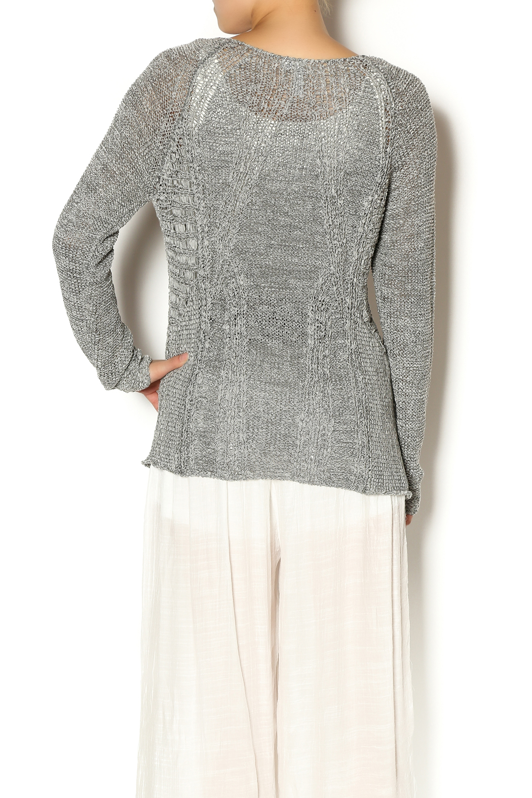 Katherine Barclay Gray Knit Sweater - Back Cropped Image
