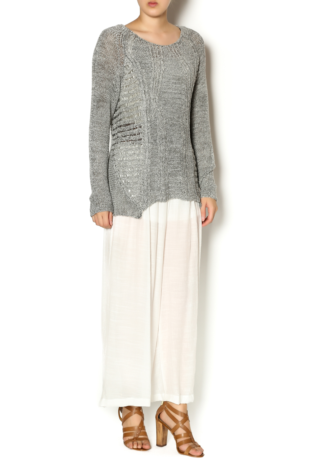 Katherine Barclay Gray Knit Sweater - Front Full Image