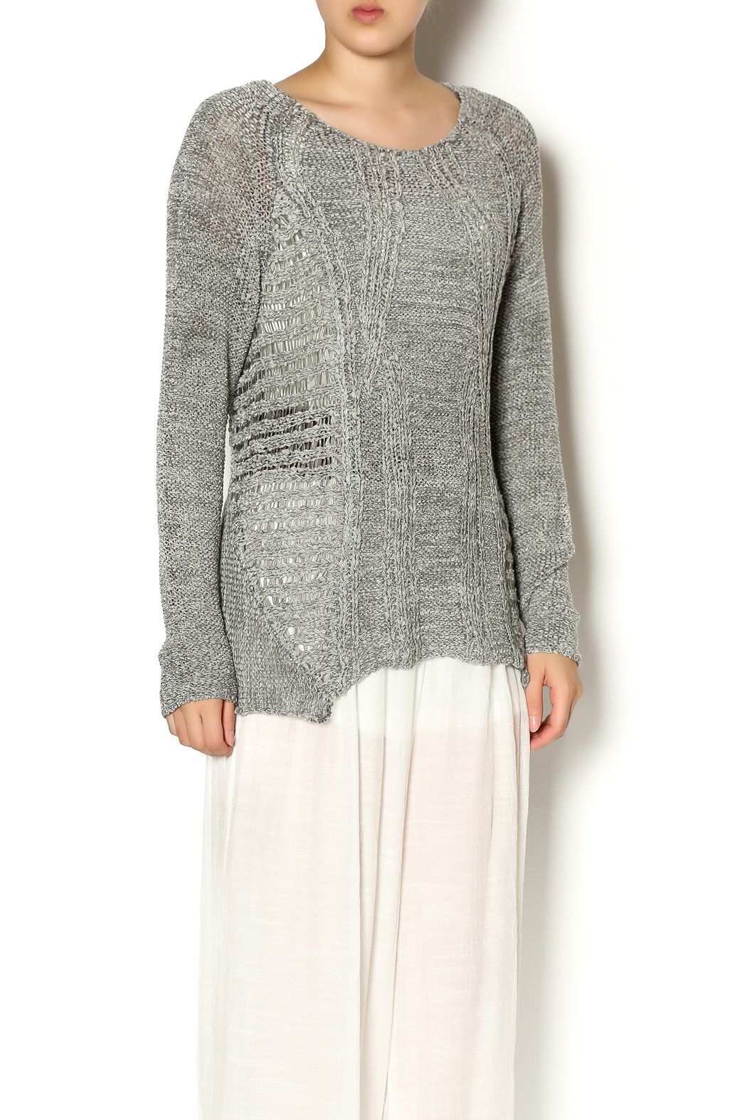 Katherine Barclay Gray Knit Sweater - Front Cropped Image