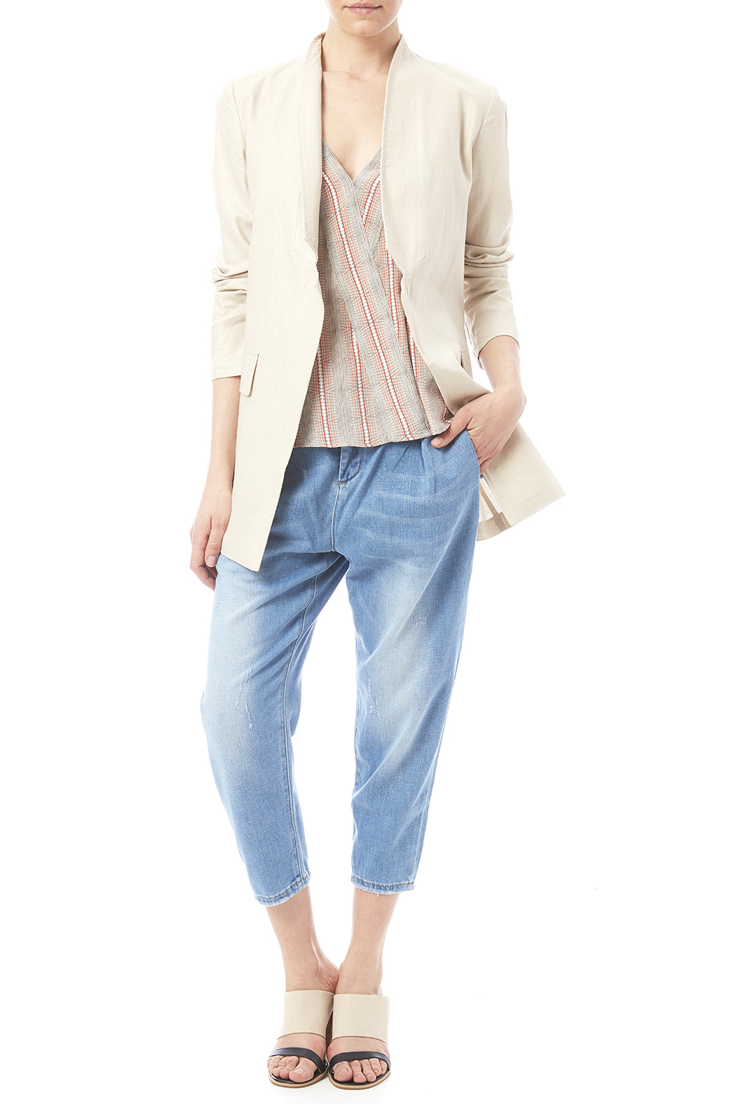 Katherine Barclay Metallic Linen Jacket - Front Full Image