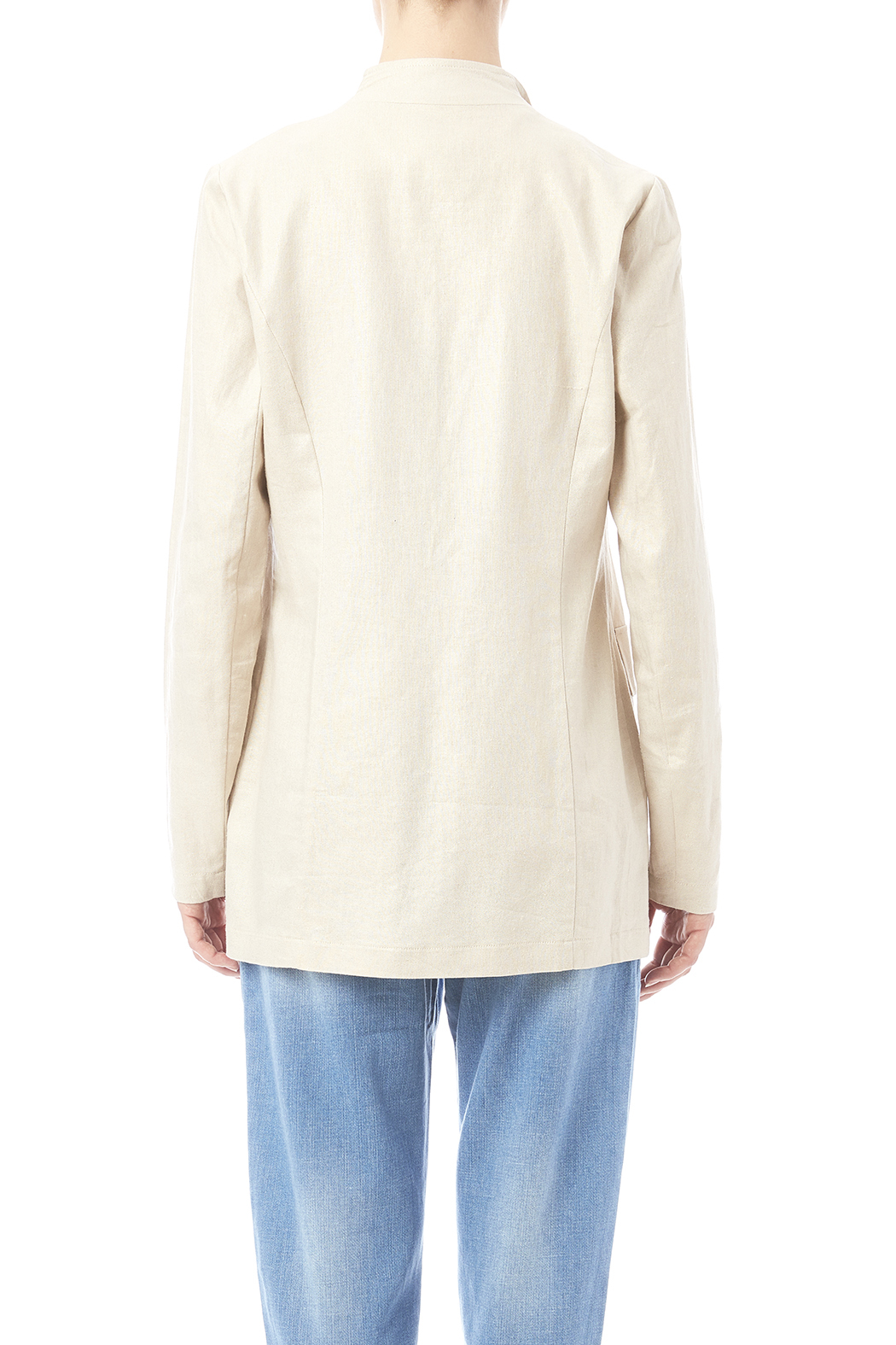 Katherine Barclay Metallic Linen Jacket - Back Cropped Image