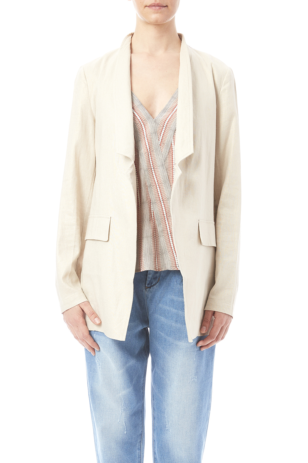 Katherine Barclay Metallic Linen Jacket - Side Cropped Image