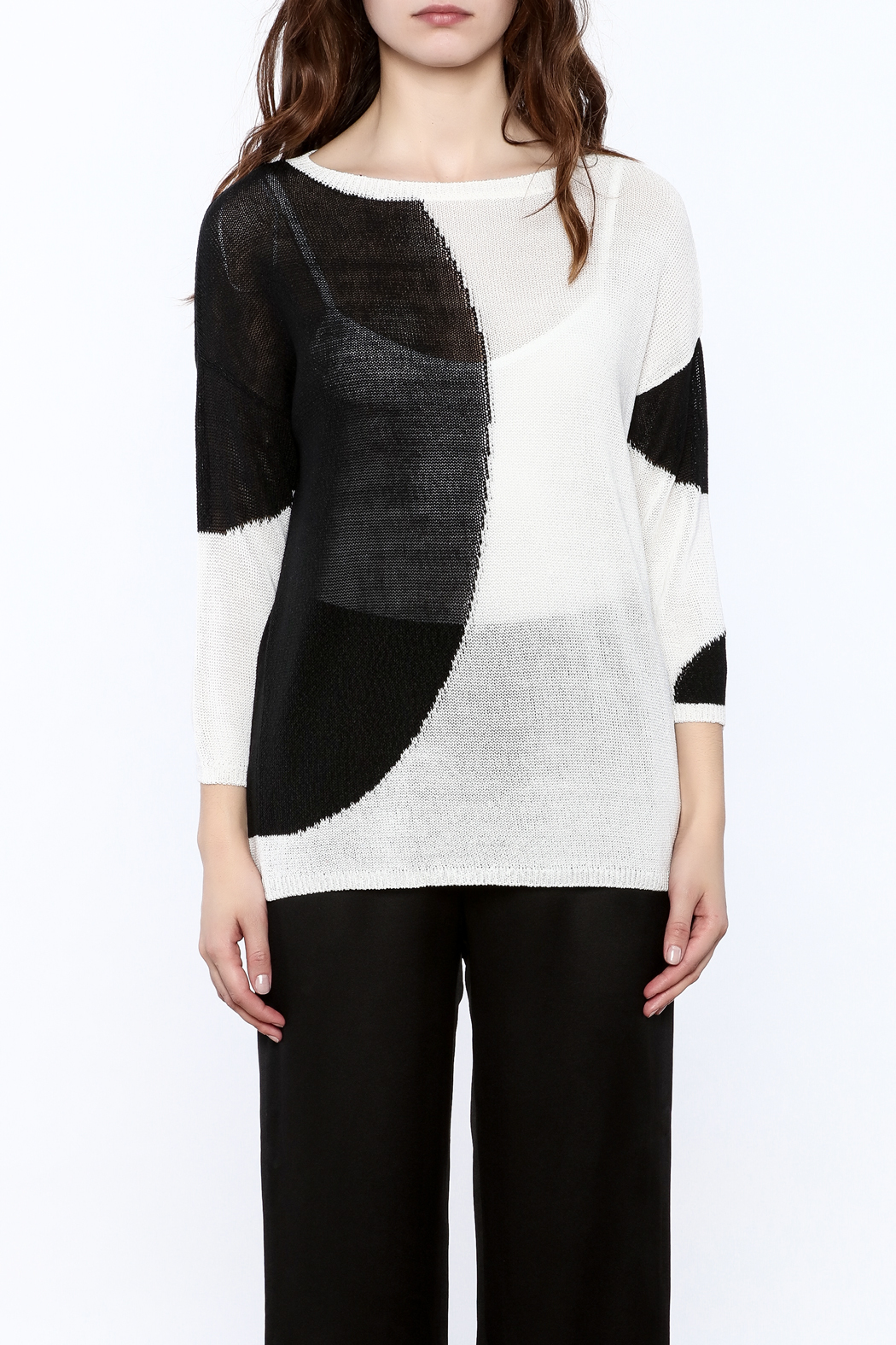 Katherine Barclay White And Black Sweater - Side Cropped Image