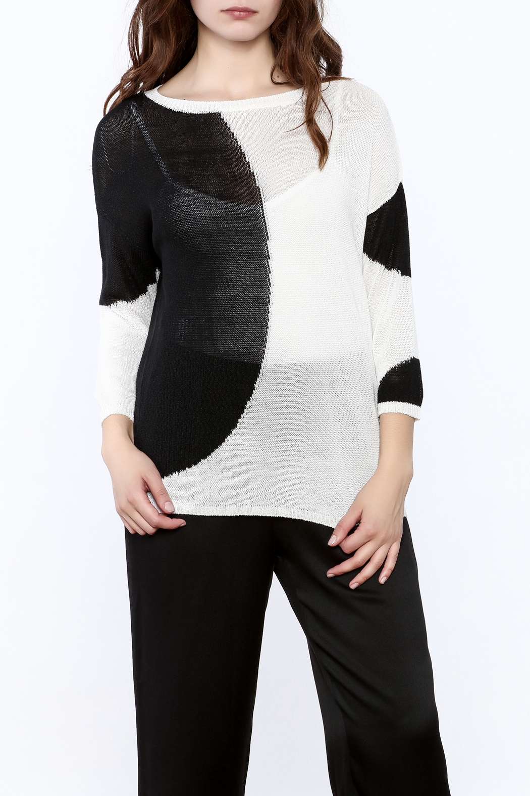 Katherine Barclay White And Black Sweater - Main Image