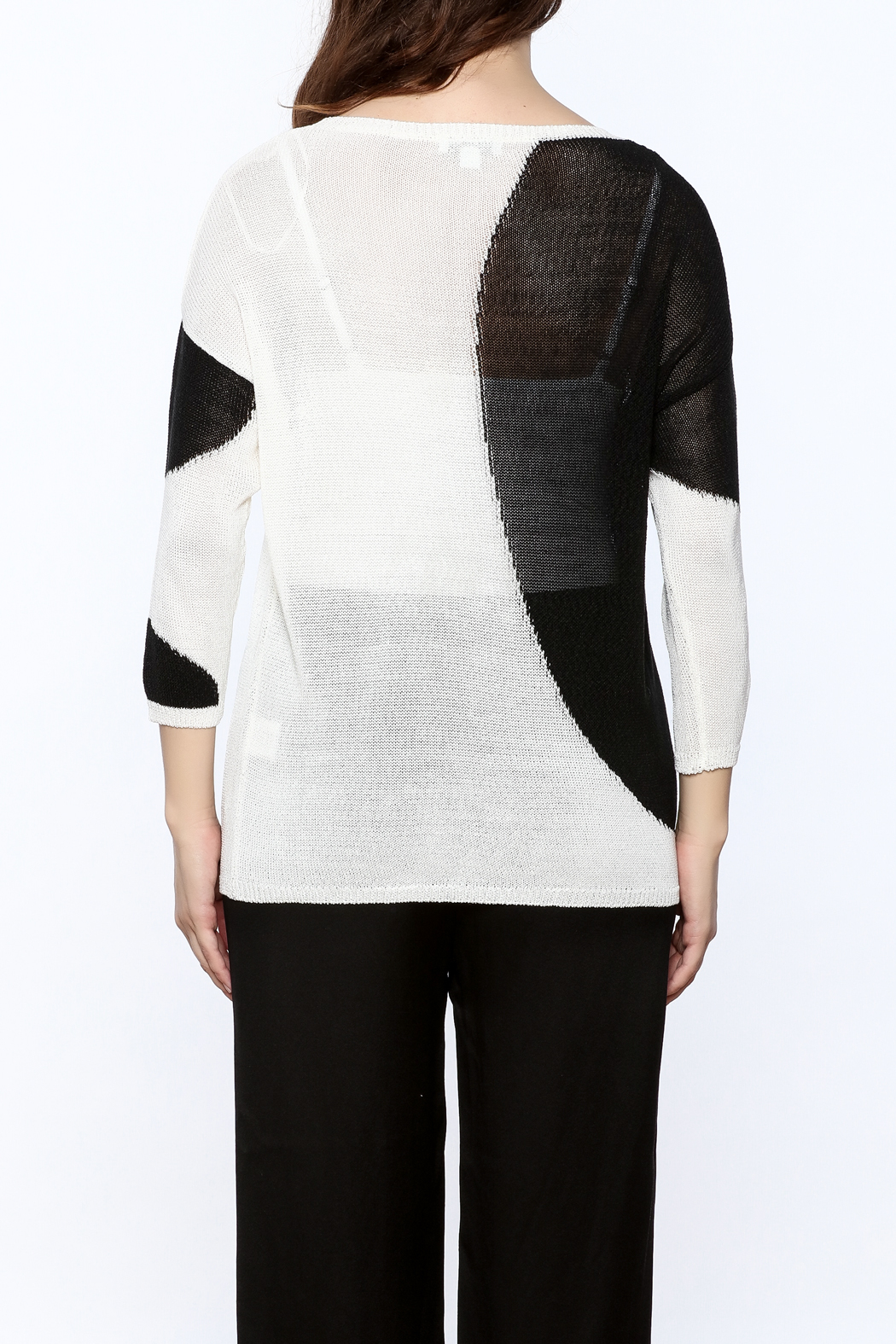 Katherine Barclay White And Black Sweater - Back Cropped Image