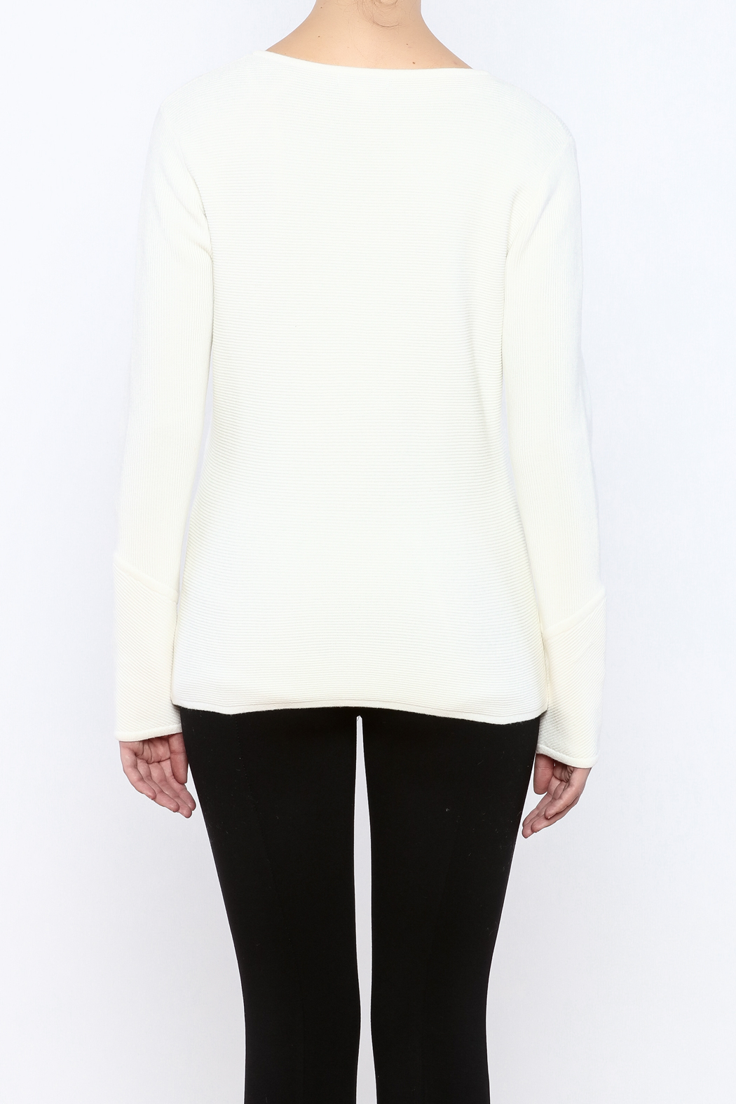 Katherine Barclay Winter White Sweater - Back Cropped Image