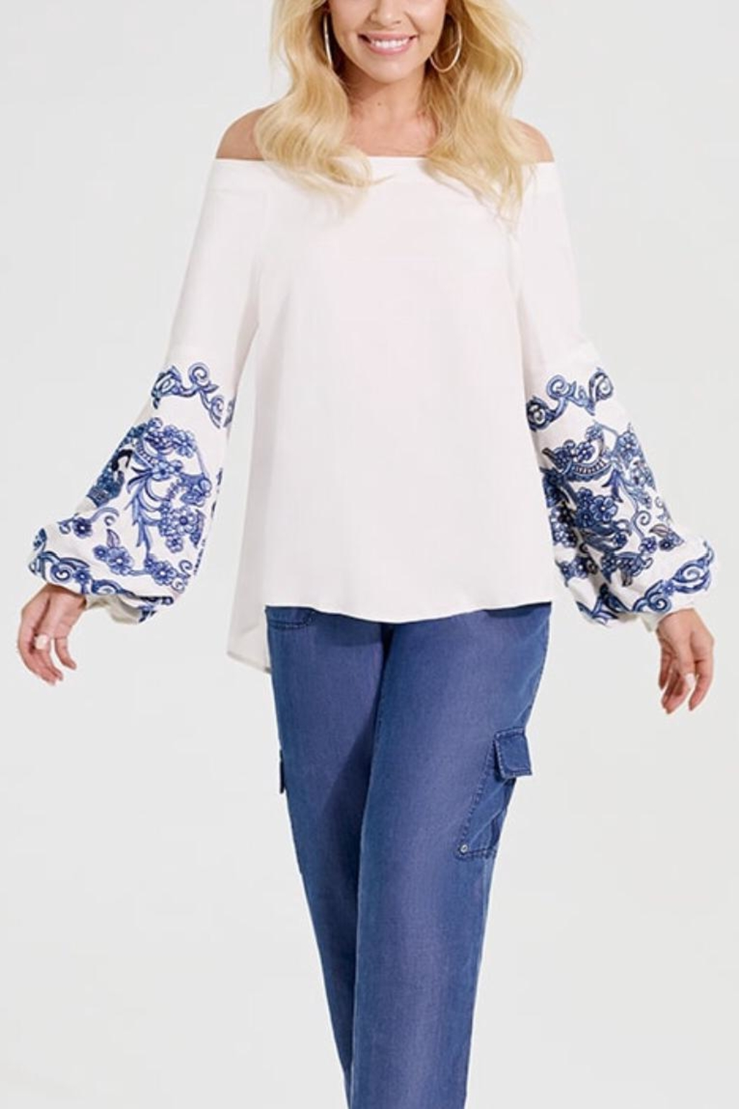 Katherine Barclay Embroidered Peasant Blouse - Main Image