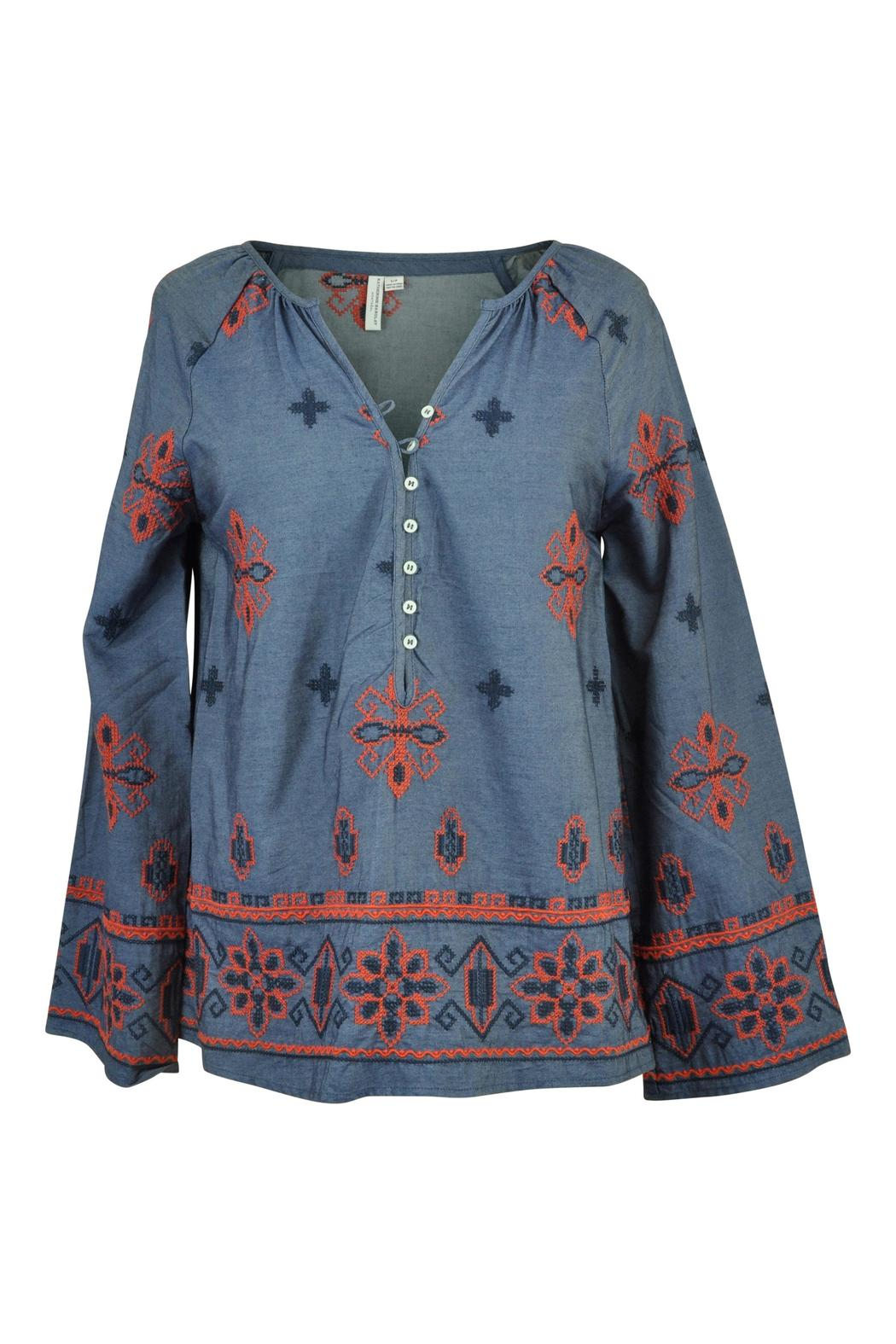 Katherine Barclay Chambray Peasant Top - Front Cropped Image