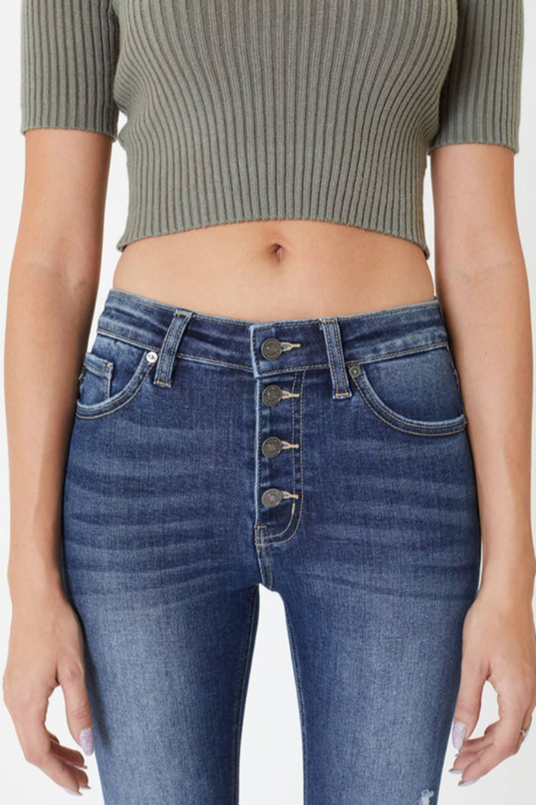 Kan Can Katie High Rise Button Skinny - Side Cropped Image