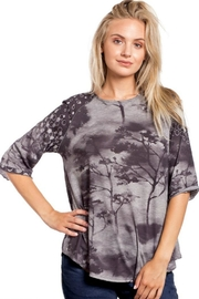 Katina Marie Contrast Heather Top - Product Mini Image