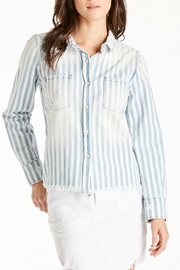 Dear John Katya Striped Long-Sleeve Frayed Embroidered Button Down - Product Mini Image