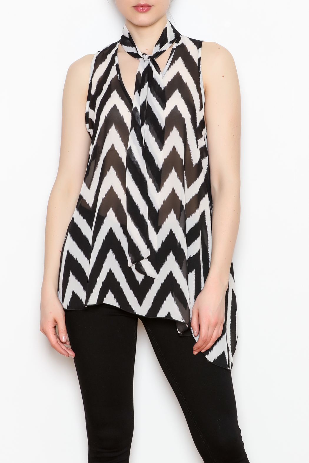 Kay Celine Tie Neck Top - Front Cropped Image