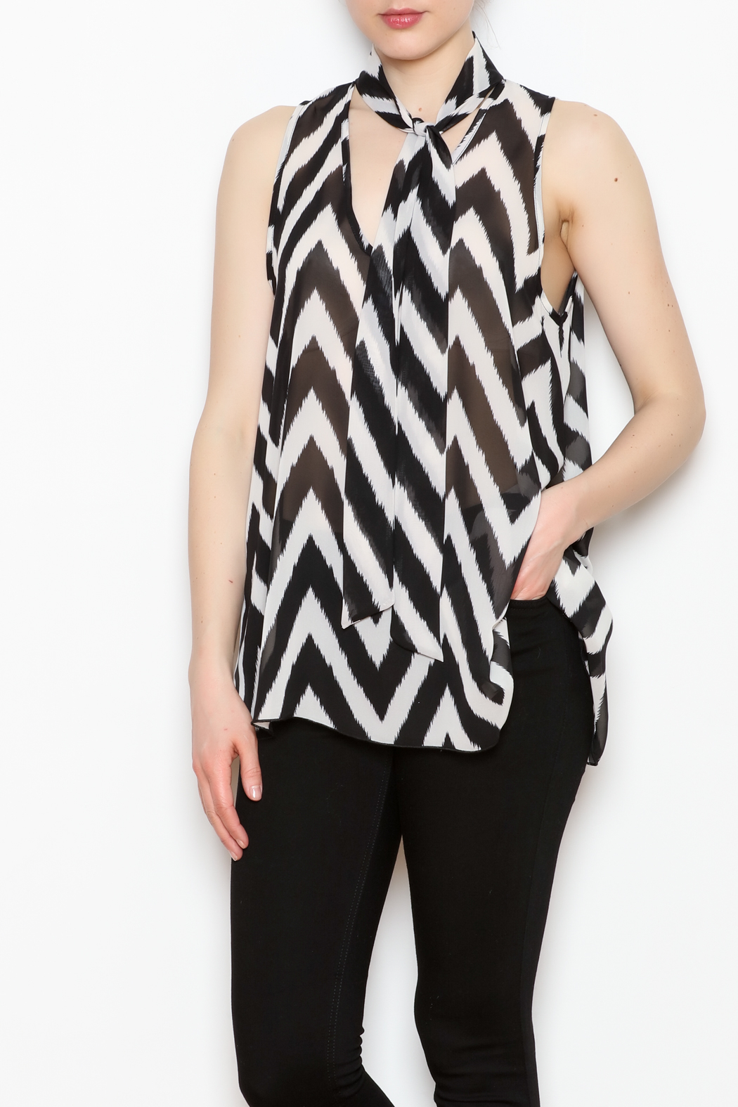 Kay Celine Tie Neck Top - Front Full Image