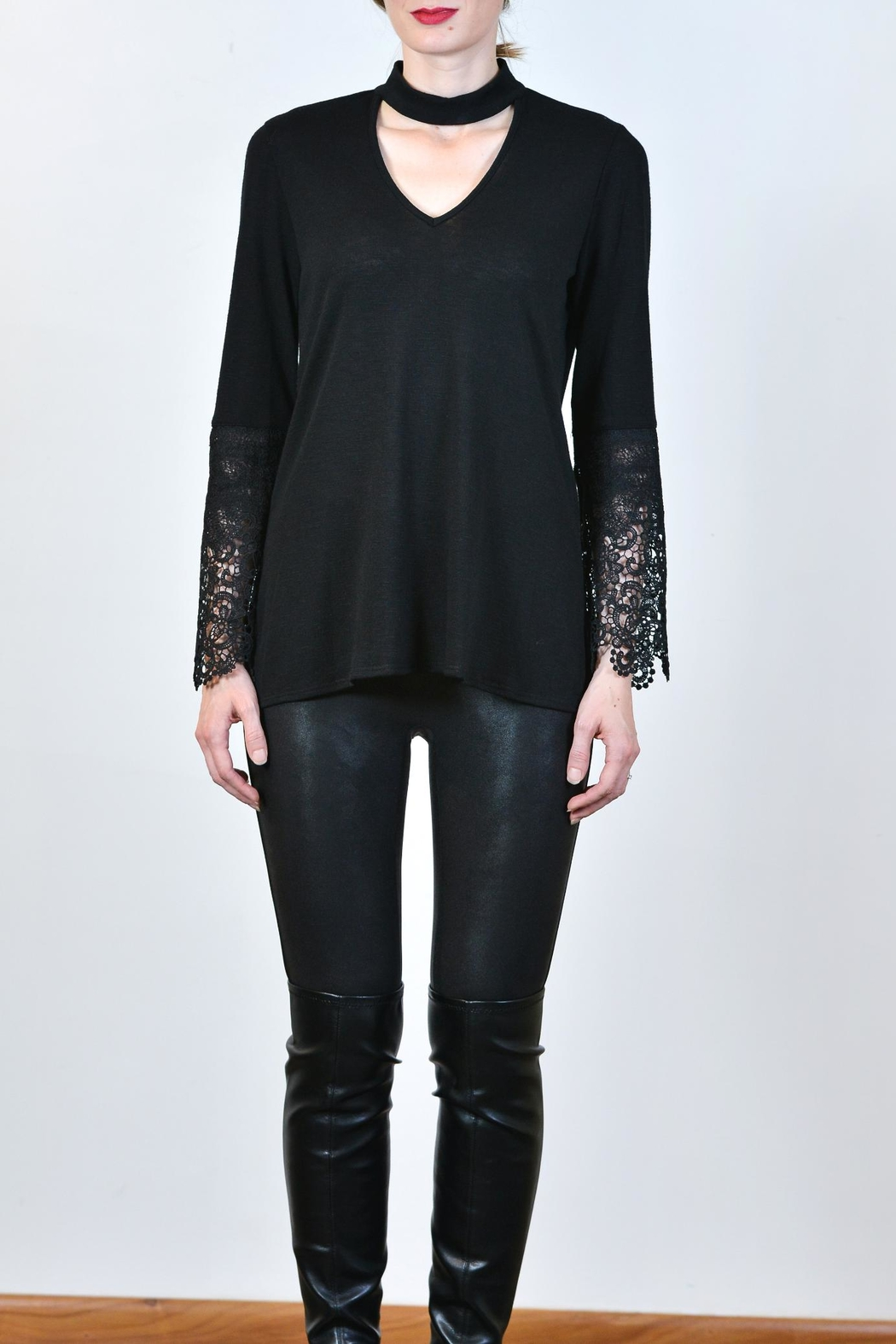 Kay Celine Lace Arm Top - Side Cropped Image