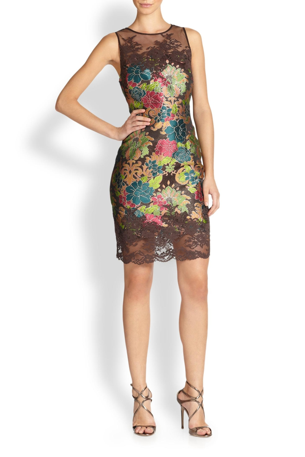Kay Unger Brown Brocade Dress - Front Cropped Image