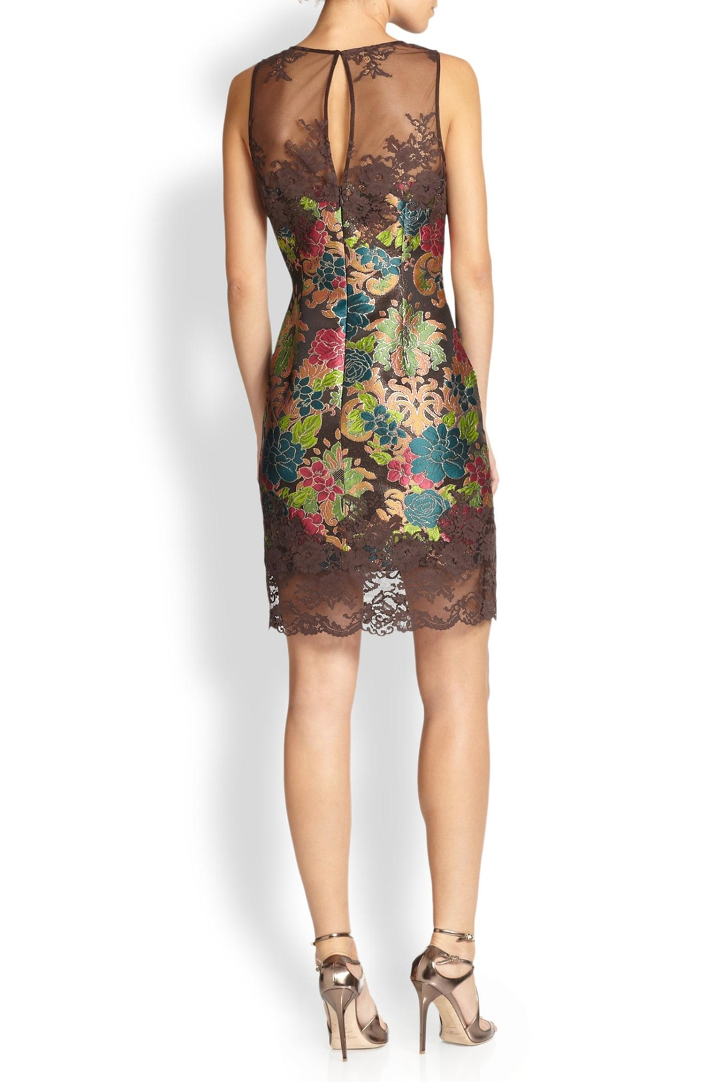Kay Unger Brown Brocade Dress - Front Full Image