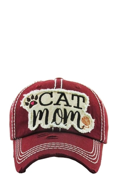 Shoptiques Product: Cat Mom Washed Vintage Ball Cap